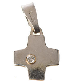 Cruz prata com zircão 1x1 cm s2