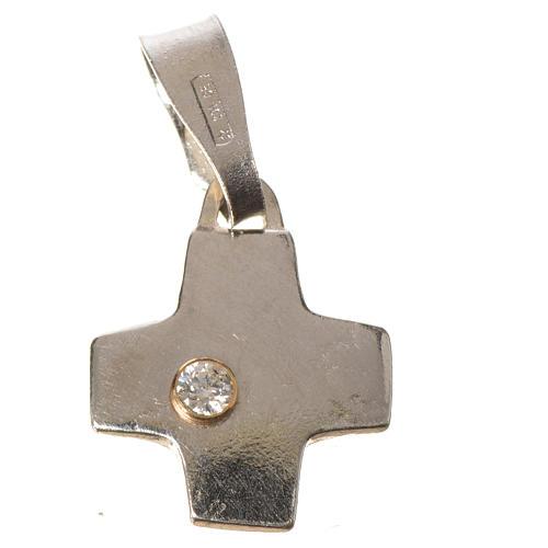 Cruz prata com zircão 1x1 cm 2