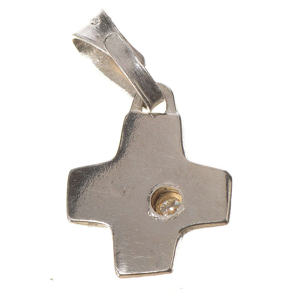Pendant cross in silver with zircon 1 x 1 cm 4