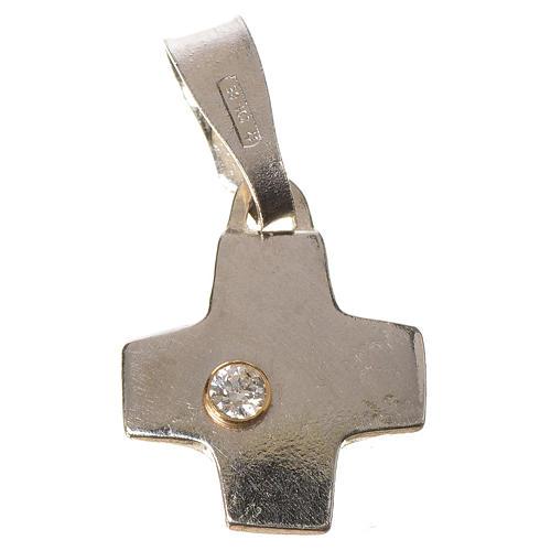 Pendant cross in silver with zircon 1 x 1 cm 1