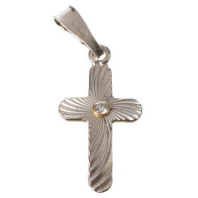 Croce Argento e zircone zigrinata 2x1,5 s1
