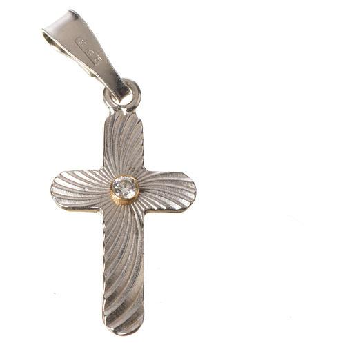 Croce Argento e zircone zigrinata 2x1,5 4