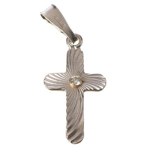 Croce Argento e zircone zigrinata 2x1,5 1