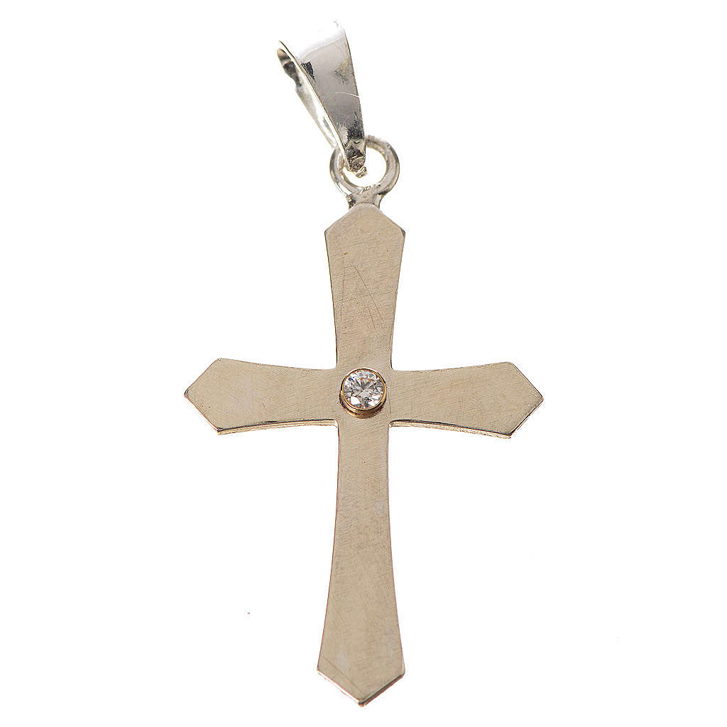 Croce a punta argento e zircone 4