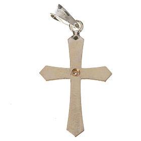 Croce a punta argento e zircone s2