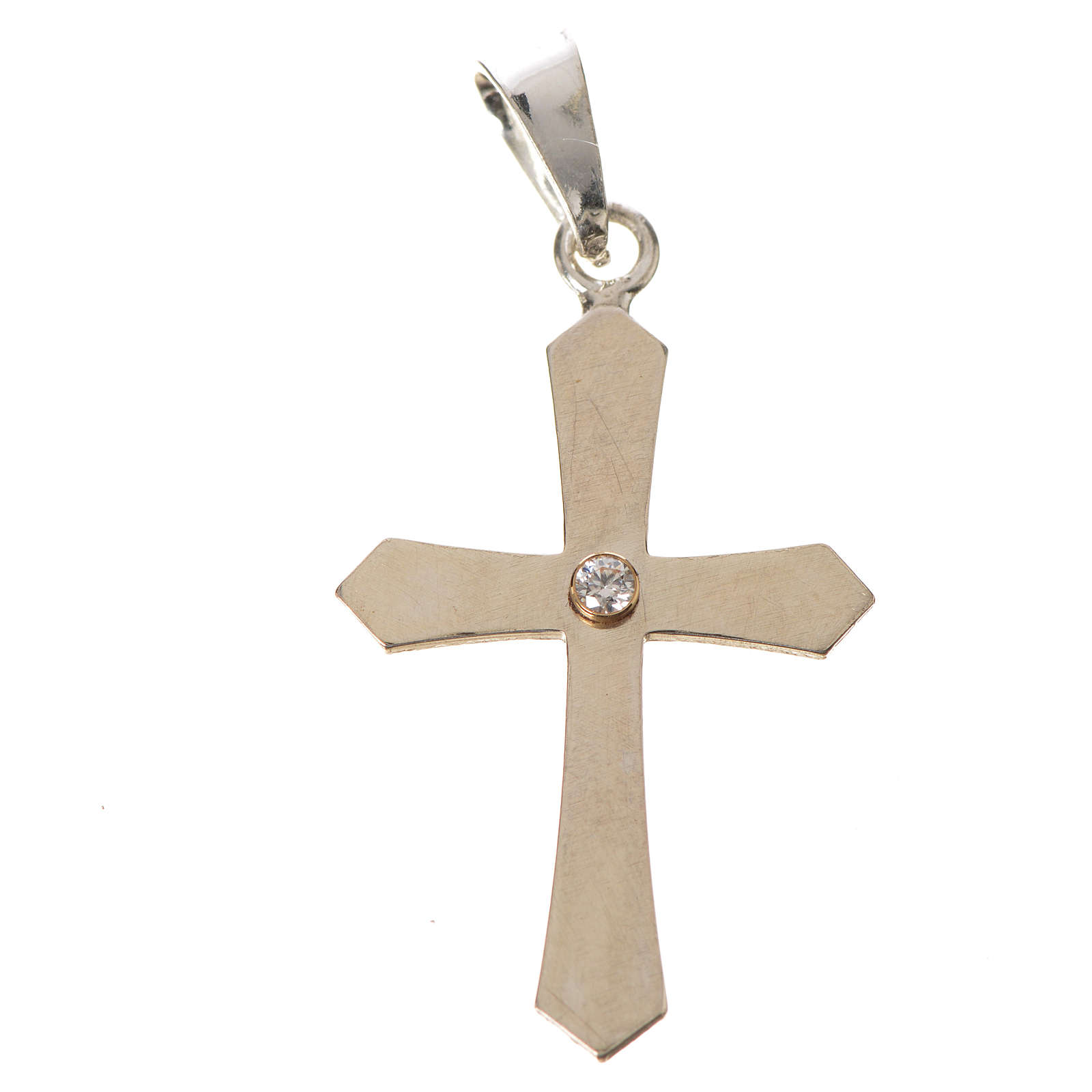 Pendant cross, pointed in silver with zircon 4