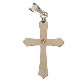 Pendant cross, pointed in silver with zircon s6