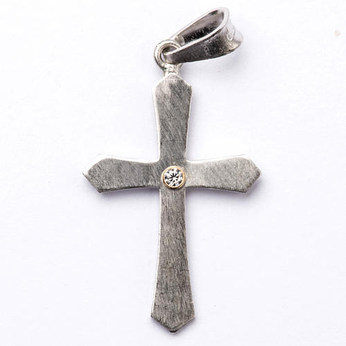 Pendant cross, pointed in silver with zircon 1