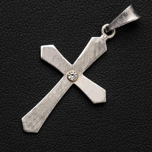 Pendant cross, pointed in silver with zircon 3