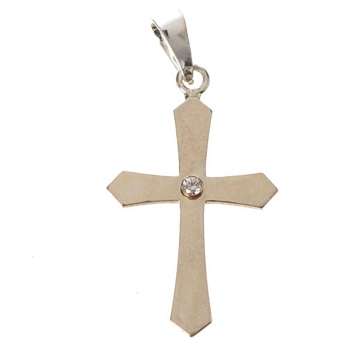 Pendant cross, pointed in silver with zircon 5