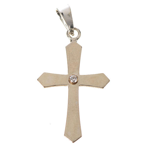 Pendant cross, pointed in silver with zircon 2