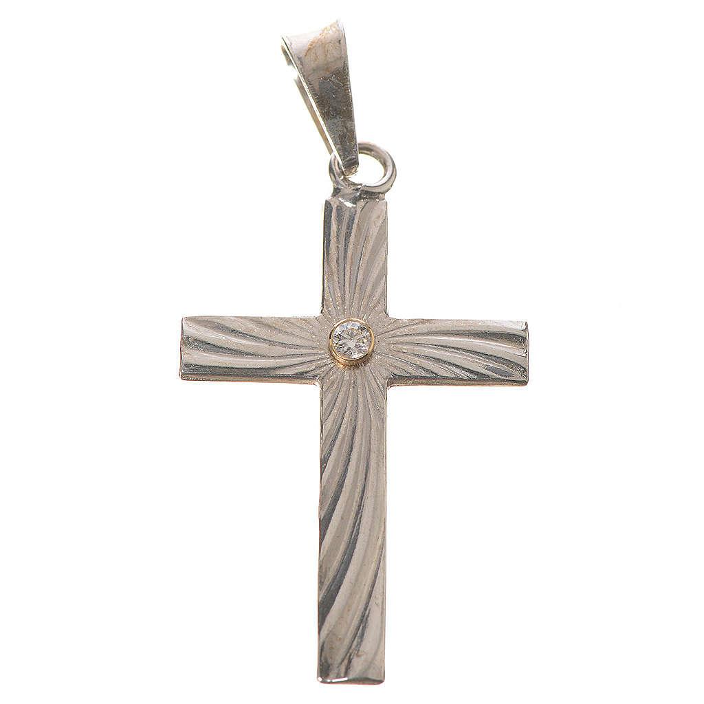 Croce classica zigrinata argento e zircone 3x2 4