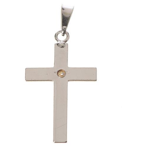 Croce classica argento e zircone 2x3 4