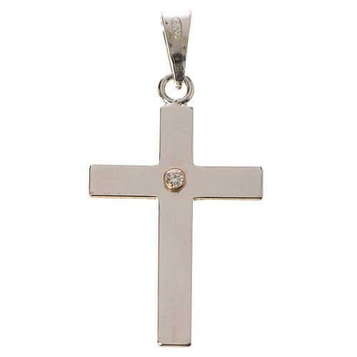 Croce classica argento e zircone 2x3 1