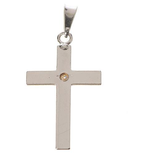 Croce classica argento e zircone 2x3 2
