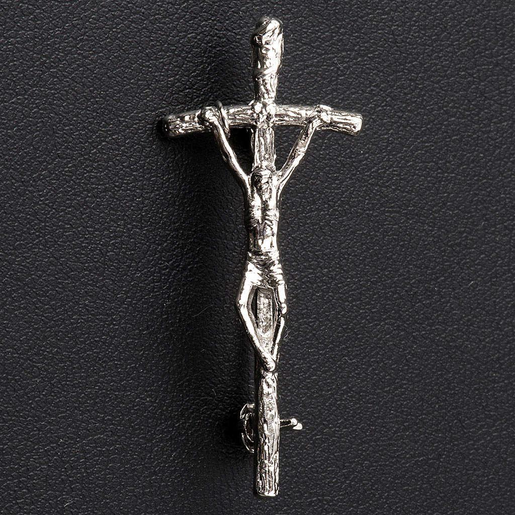 Broche pastoral prata João Paulo II 4x2 cm 4