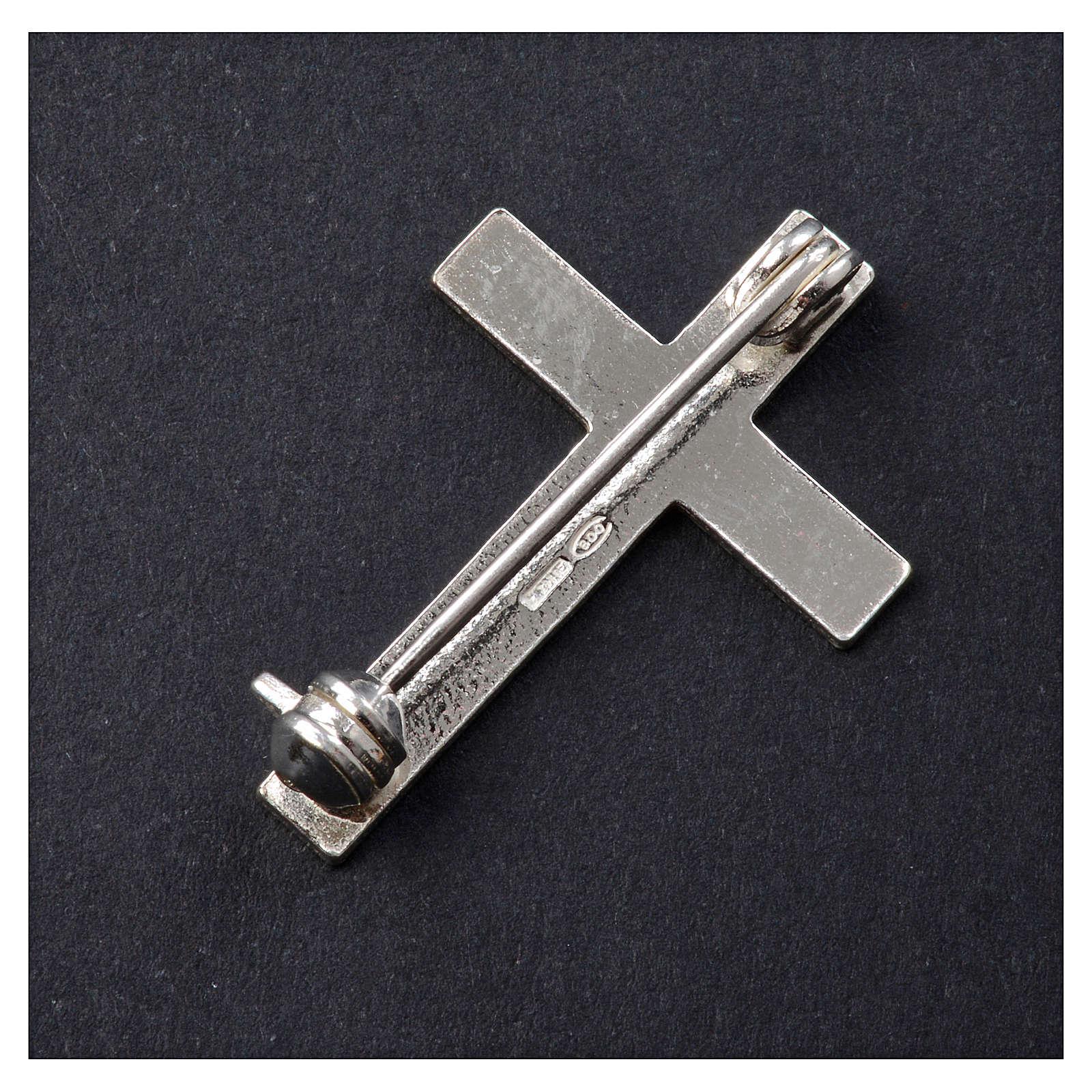 Clergyman cross pin in 925 silver 4