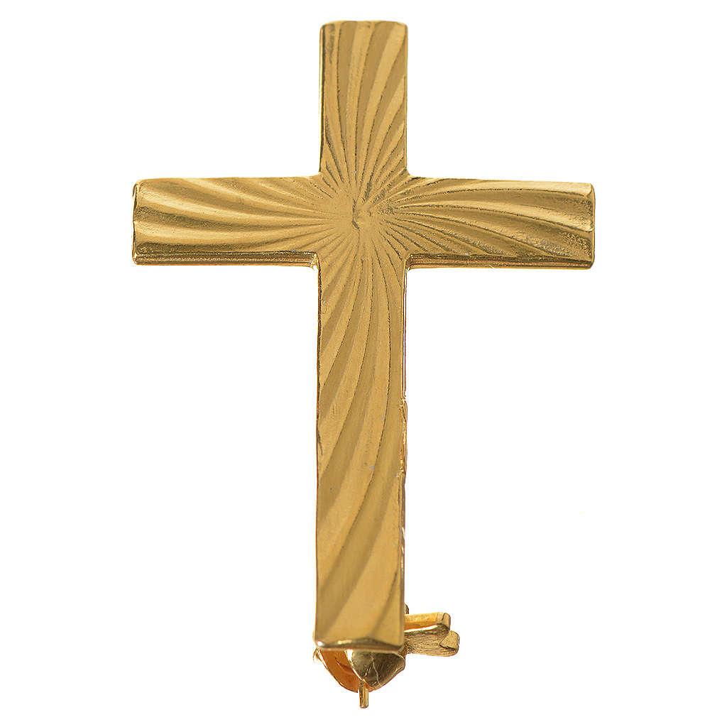 Broche Cruz Clergyman dorada plata de ley 4