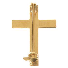 Broche Cruz Clergyman dorada plata de ley s6