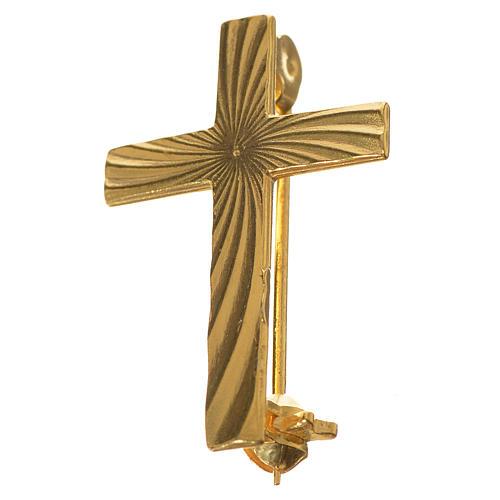 Broche Cruz Clergyman dorada plata de ley 2
