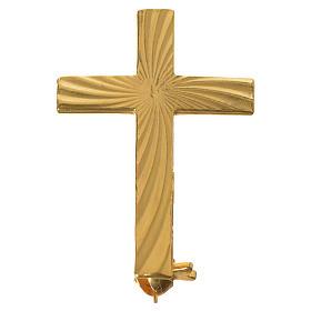 Cruz broche sacerdote dourada prata 925 s4