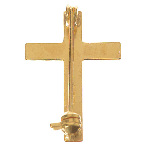 Cruz broche sacerdote dourada prata 925 3