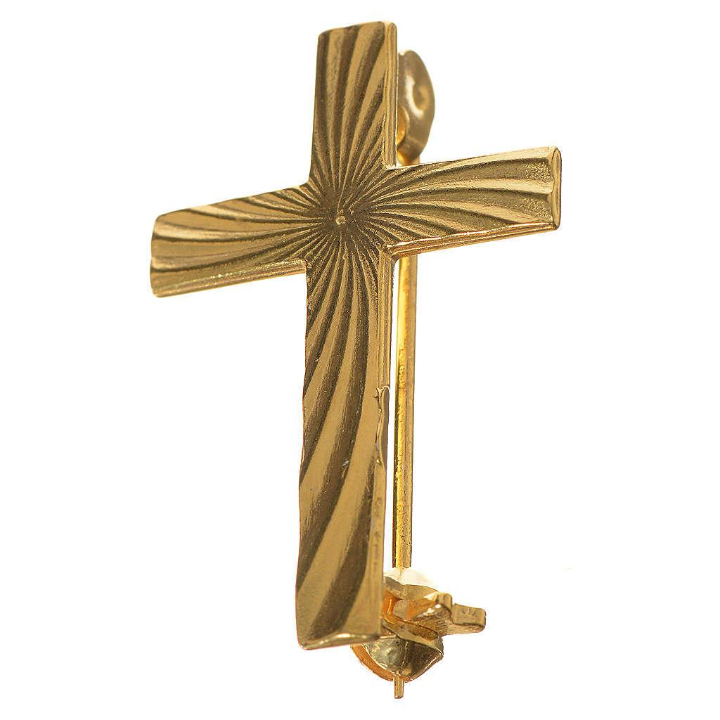 Clergyman cross pin in golden 800 silver 4