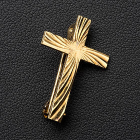 Clergyman cross pin in golden 800 silver s3