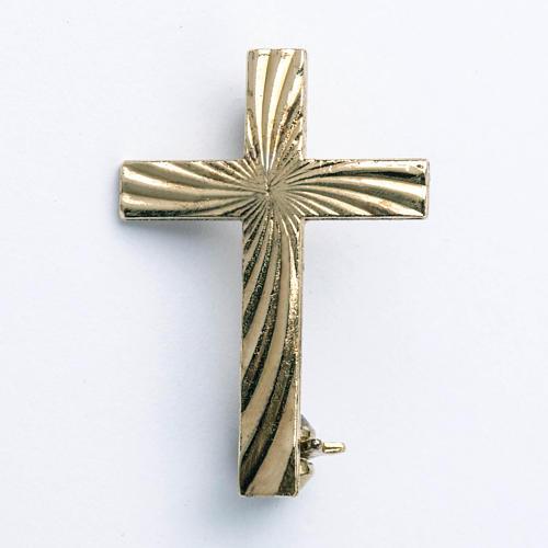 Clergyman cross pin in golden 800 silver 1