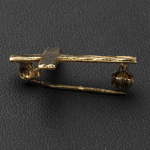 Clergyman cross pin in golden 800 silver 5