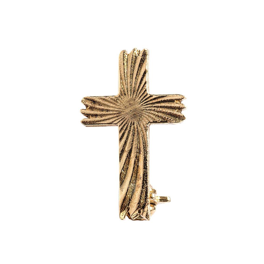 Croce spilla dorata zigrinata arg.800 4