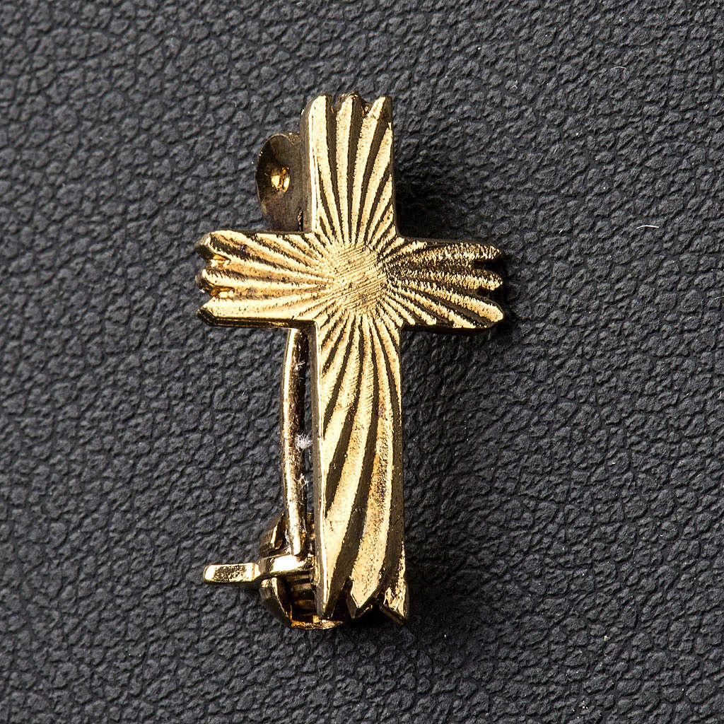 Cruz broche dourada serrilhada prata 925 4