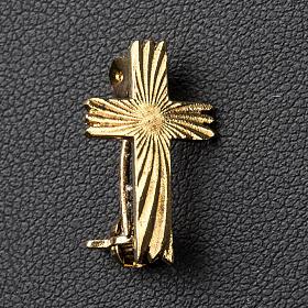 Cruz broche dourada serrilhada prata 925 s2