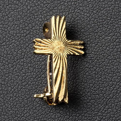 Cruz broche dourada serrilhada prata 925 2
