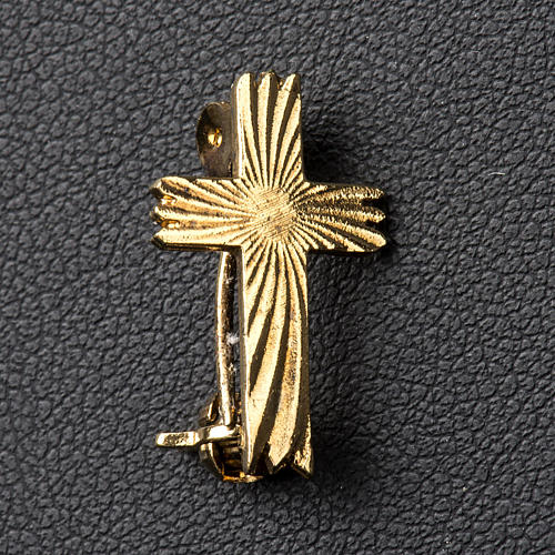 Knurled cross brooch in golden 925 silver 2