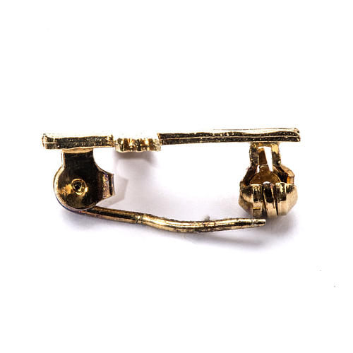 Knurled cross brooch in golden 925 silver 3