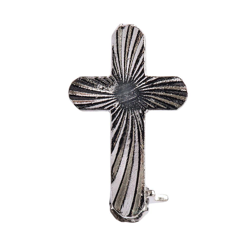 Broche cruz clergy plata de ley 4