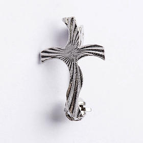 Clergy cross brooch, stylised and knurled in 925 silver s1