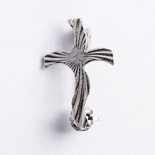 Clergy cross brooch, stylised and knurled in 925 silver 1