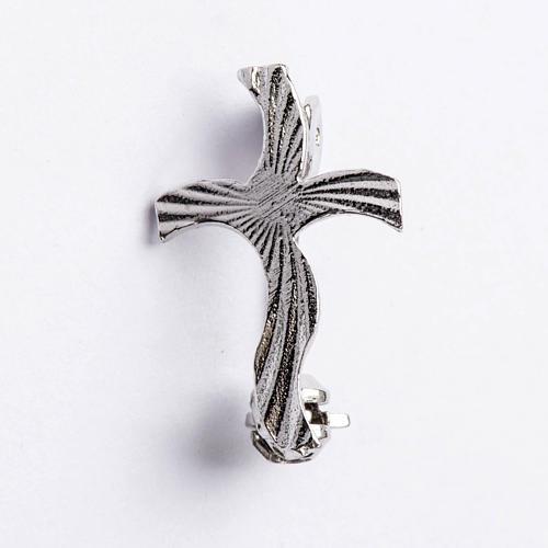 Croix clergyman stylisée crénelée arg 925 1