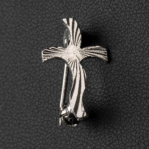 Croix clergyman stylisée crénelée arg 925 2