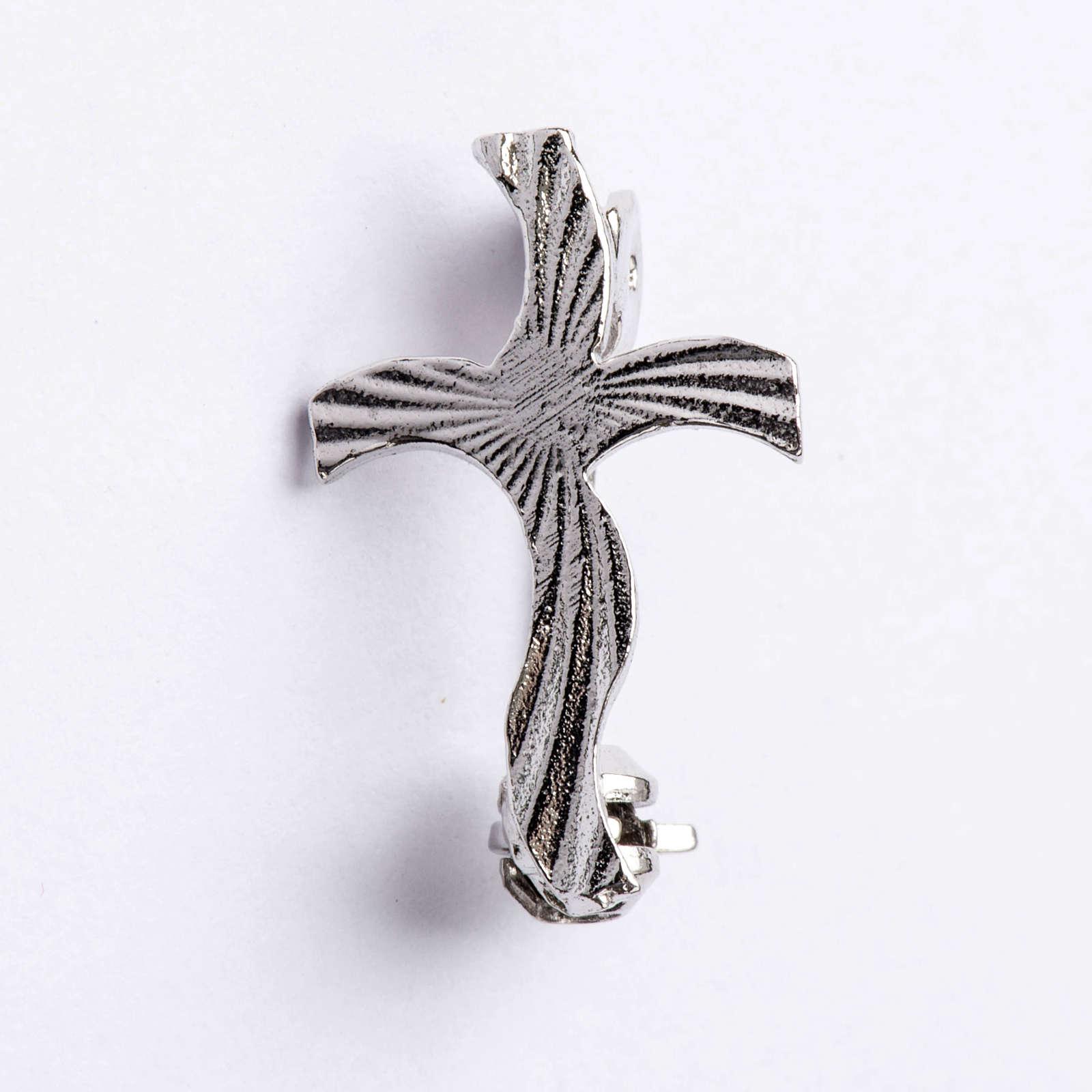 Croce clergyman stilizzata zigrinata arg. 800 4