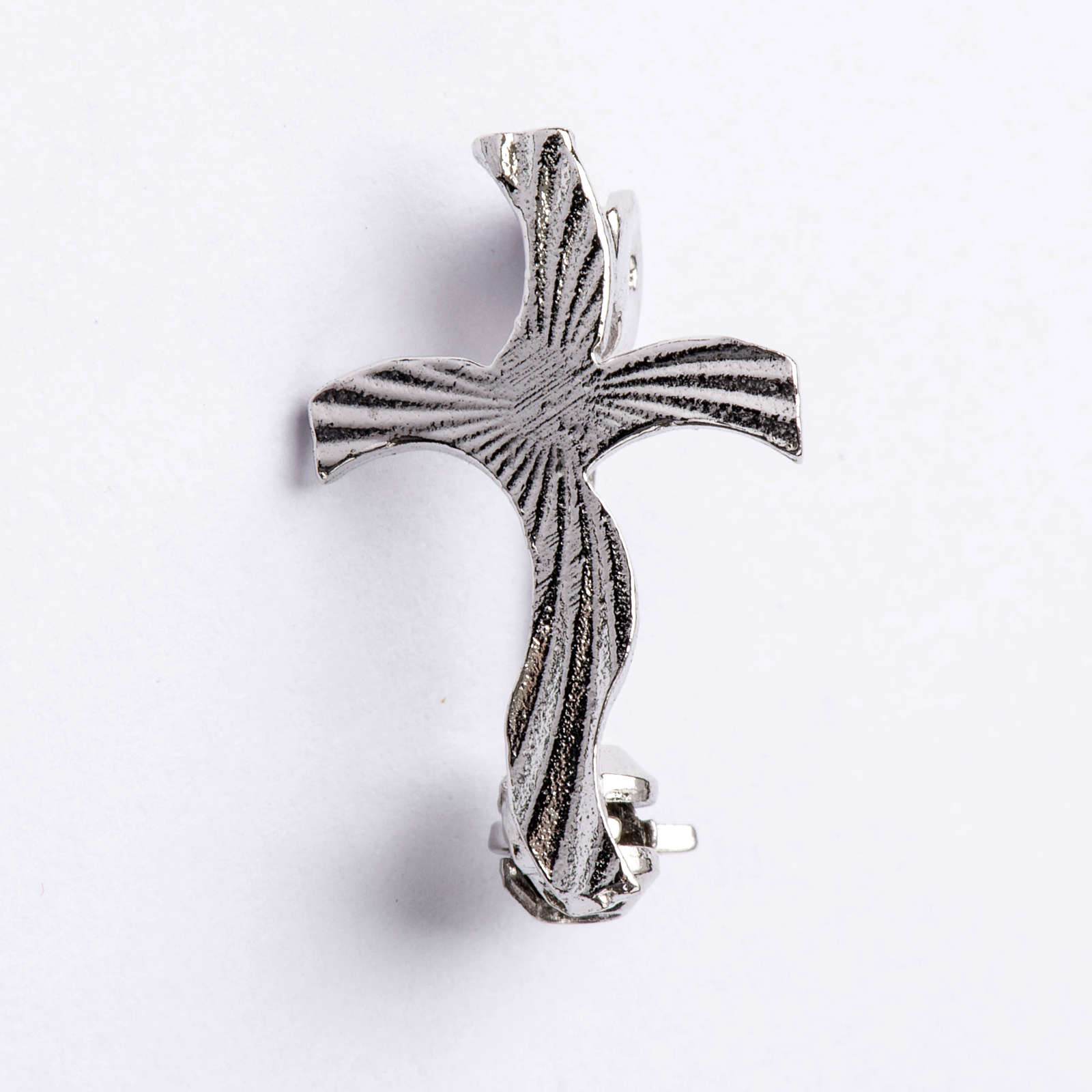 Clergy cross brooch, stylised and knurled in 925 silver 4
