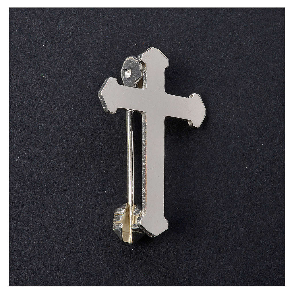 Clergy pointed cross pin in 925 silver 4