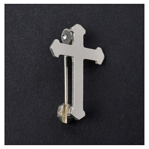 Clergy pointed cross pin in 925 silver 5