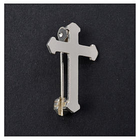 Clergy pointed cross pin in 925 silver s5