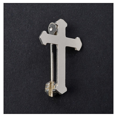 Clergy pointed cross pin in 925 silver 2