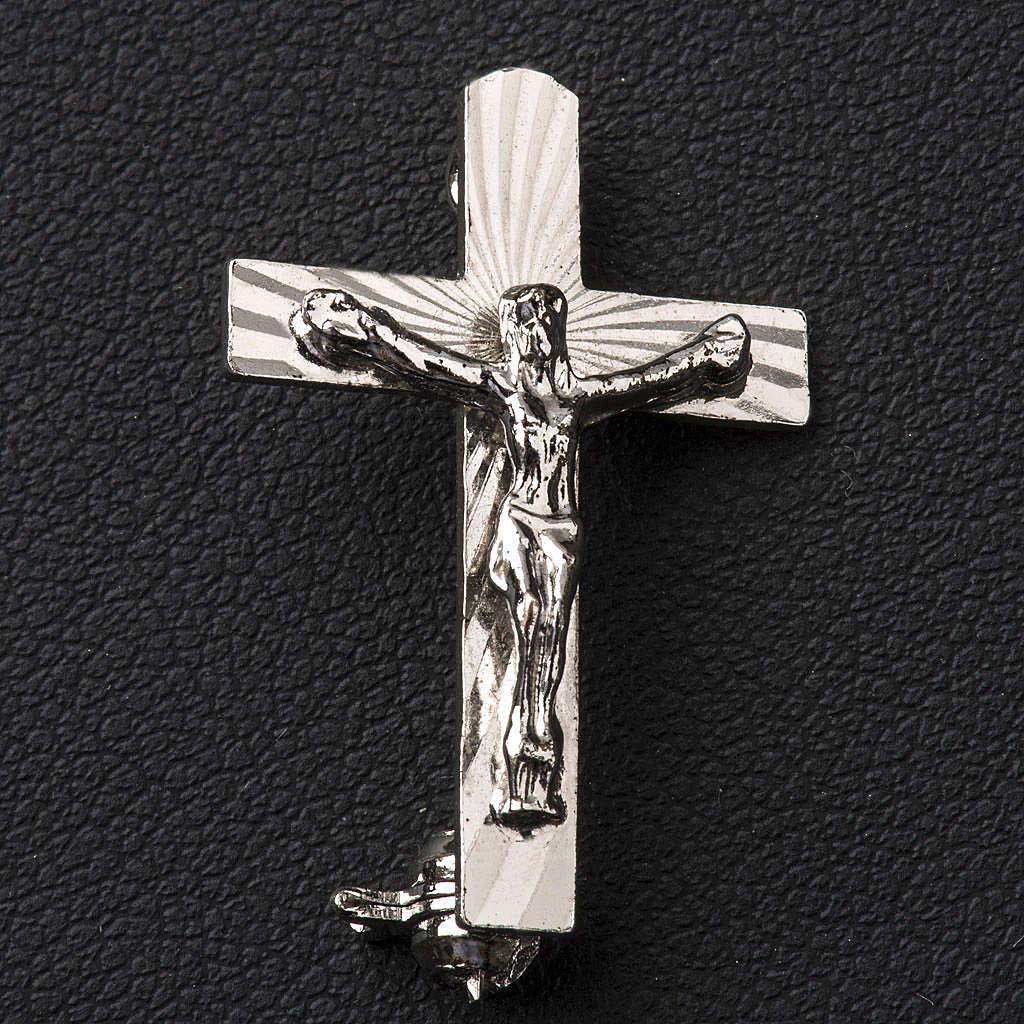 Broche Clergyman Crucifijo plata de ley 4