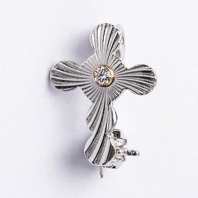 Broches Religiosos: Broche de sacerdote cruz esferas prata 925