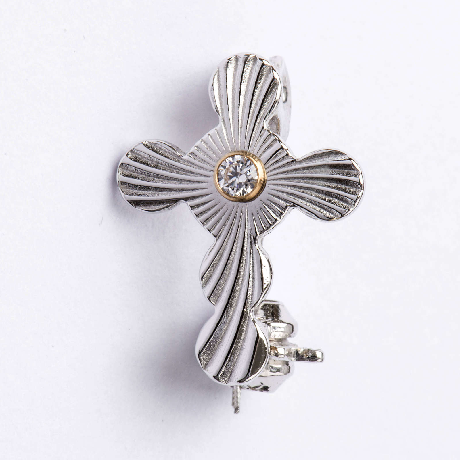 Clergy rounded cross pin in 925 silver 4